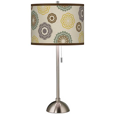 Ornaments Linen Giclee Shade Brushed Steel Table Lamp