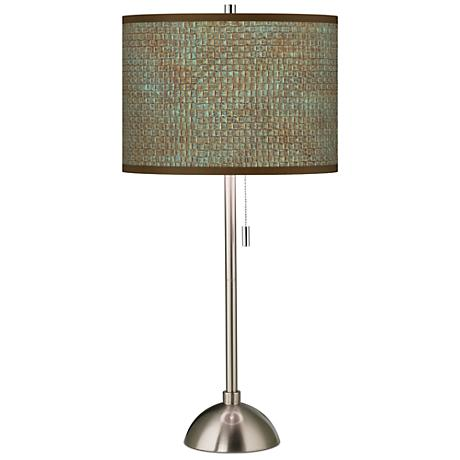 Interweave Patina Pattern Contemporary Table Lamp
