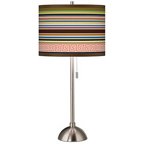 Island Party Time Giclee Brushed Steel Table Lamp