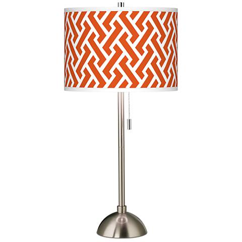 Red Brick Weave Giclee Brushed Steel Table Lamp