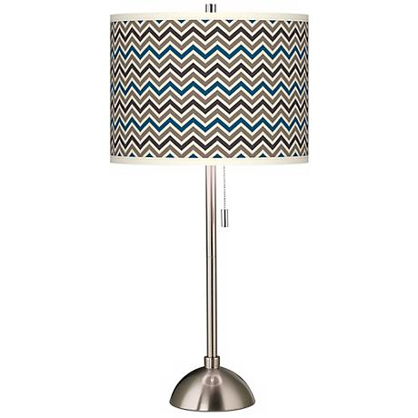Zig Zag Giclee Brushed Steel Table Lamp