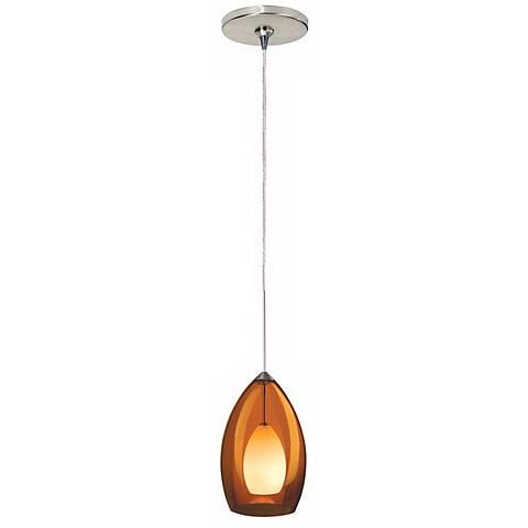 Fire Satin Nickel Amber Glass Tech Lighting Mini Pendant