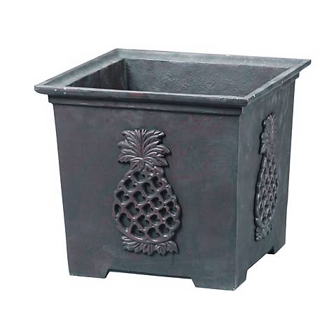 Williamsburg Square Bronze Finish Pineapple Planter