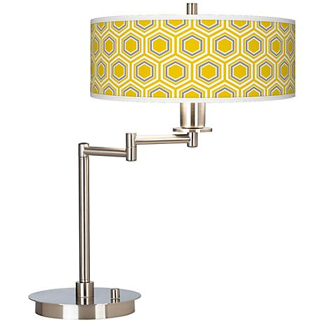 Honeycomb Giclee CFL Swing Arm Desk Lamp