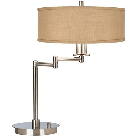 Woven Burlap CFL Swing Arm Desk Lamp