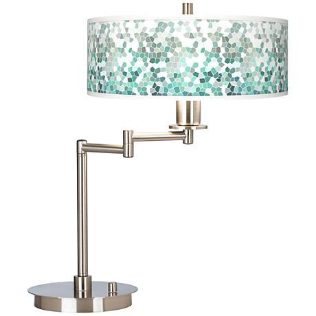 Aqua Mosaic Giclee CFL Swing Arm Desk Lamp