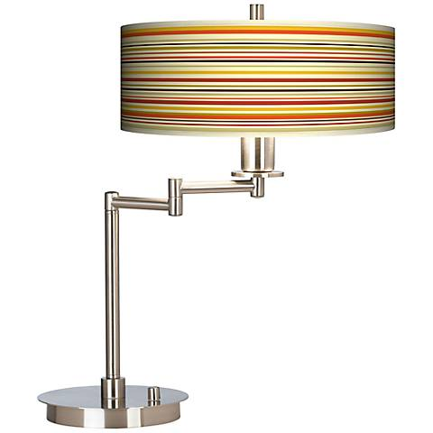 Stacy Garcia Lemongrass Stripe Giclee CFL Swing Arm Desk Lamp