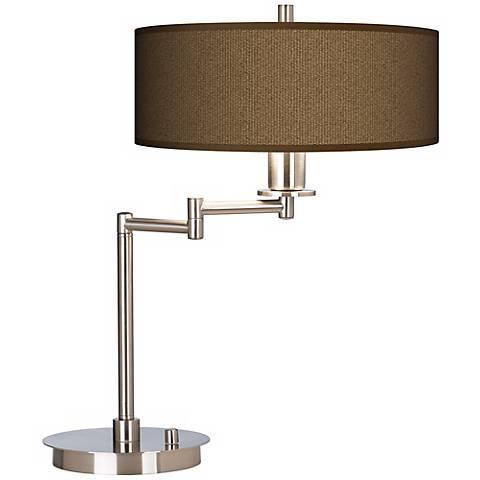 Woven Wicker Giclee Energy Efficient Swing Arm Desk Lamp