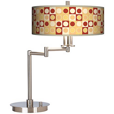 Retro Dotted Squares Energy Efficient Swing Arm Desk Lamp