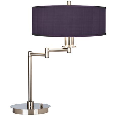 Eggplant Faux Silk CFL Swing Arm Desk Lamp