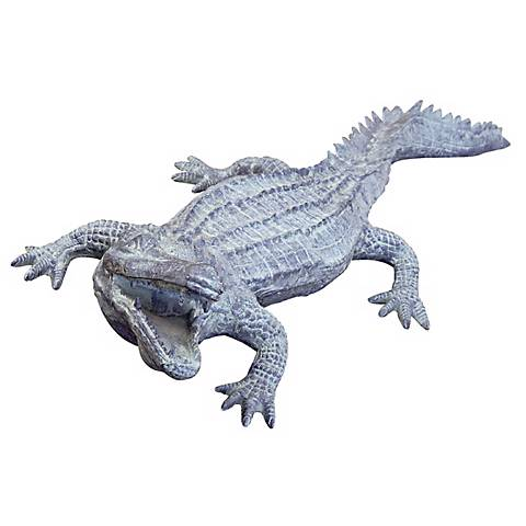 "Big Ferocious Alligator 53"" Wide Garden Statuary"