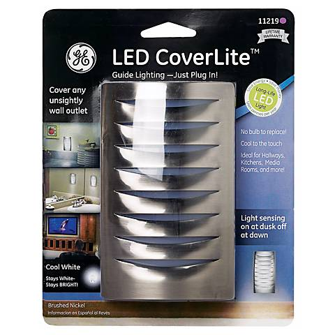 LED CoverLite Brushed Nickel Finish Outlet Cover Night Light