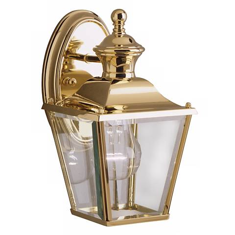 """Kichler Solid Brass Carriage 10"""" High Outdoor Wall Light"""