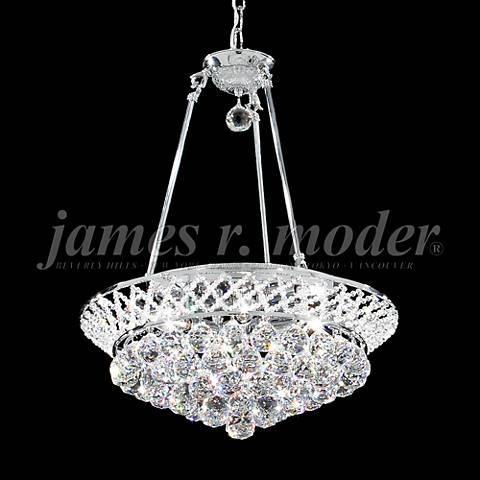 """James Moder Jacqueline 19"""" Wide Silver Crystal Chandelier"""