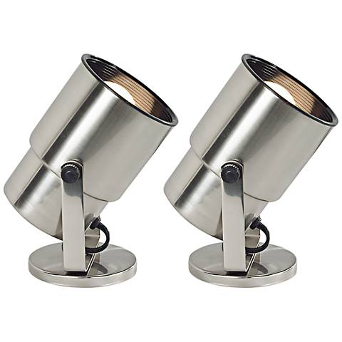 "Brushed Steel 8"" High Accent Uplight Set of 2"