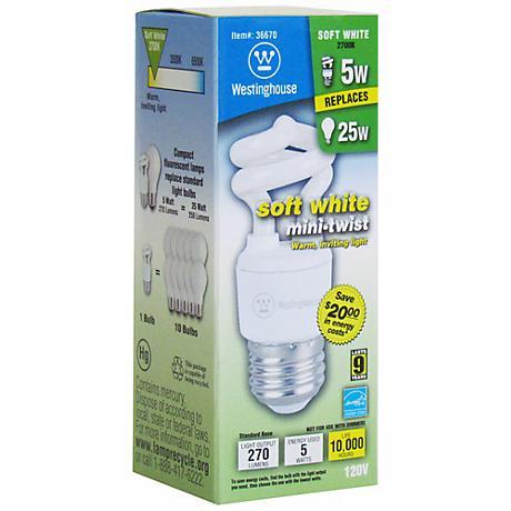 Westinghouse 5-Watt Soft White Mini CFL Light Bulb