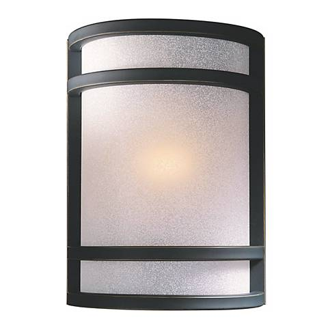 "Bronze With French Scavo Glass 9 1/2"" High Wall Sconce"