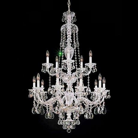 """Schonbek Sterling 32"""" Wide Large Crystal Chandelier"""