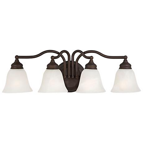 "Feiss 25"" Wide Oil Rubbed Bronze 4 Light Bath Fixture"