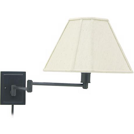 Rubbed Bronze With Beige Shade Plug-In Swing Arm Wall Lamp
