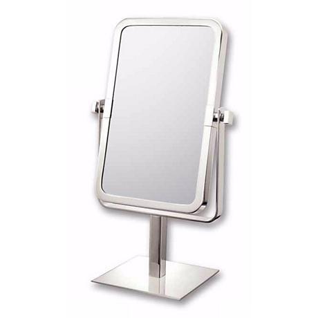 "Brushed Nickel 9 3/4"" High Rectangular Vanity Stand Mirror"