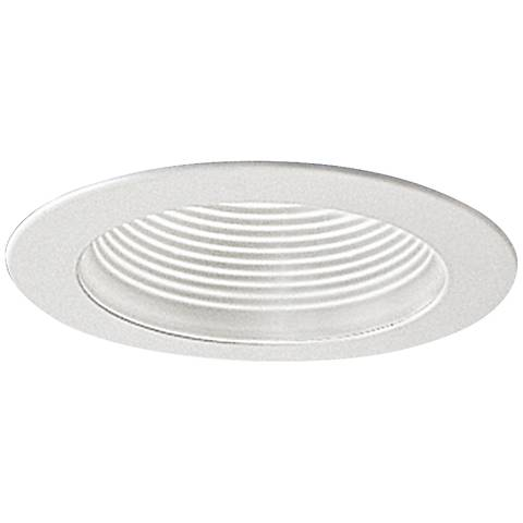"Nora 4"" Wide White Adjustable Stepped Baffle Recessed Trim"