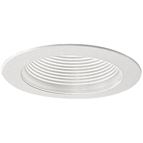 """Nora 4"""" Wide White Adjustable Stepped Baffle Recessed Trim"""