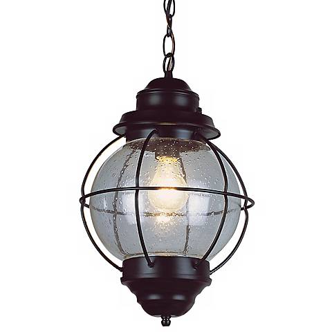 "Tulsa Lantern 19"" High Black Outdoor Hanging Light Fixture"