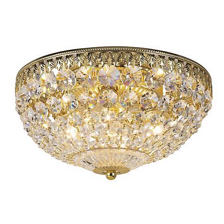 """Schonbek 10"""" Wide Gold Crystal Flushmount"""