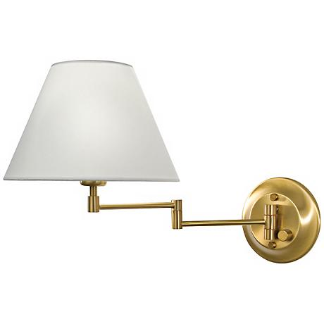 Holtkoetter Antique Brass White Shade Swing Arm Wall Lamp