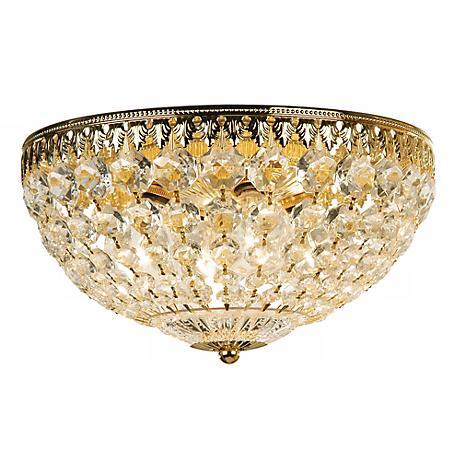 """Schonbek Gold 14"""" Wide Crystal Flushmount"""