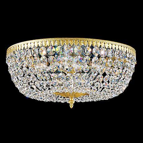 "Schonbek Rialto 14"" Wide Spectra Crystal Ceiling Light"