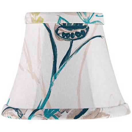 Teal and Green Floral Bell Shade 3.5x6x5 (Clip-On)