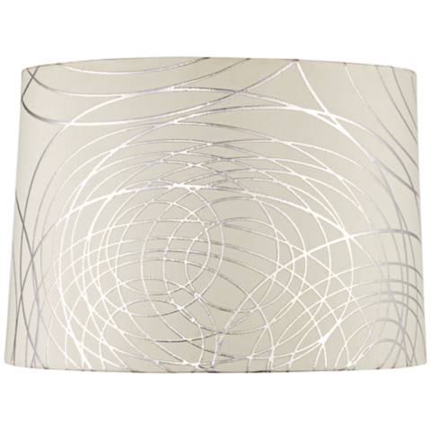 white with silver circles drum shade 15x16x11 spider. Black Bedroom Furniture Sets. Home Design Ideas