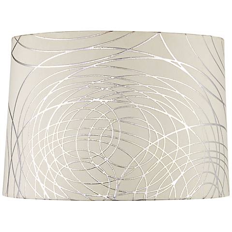 Off White With Silver Circles Drum Shade 15x16x11 Spider