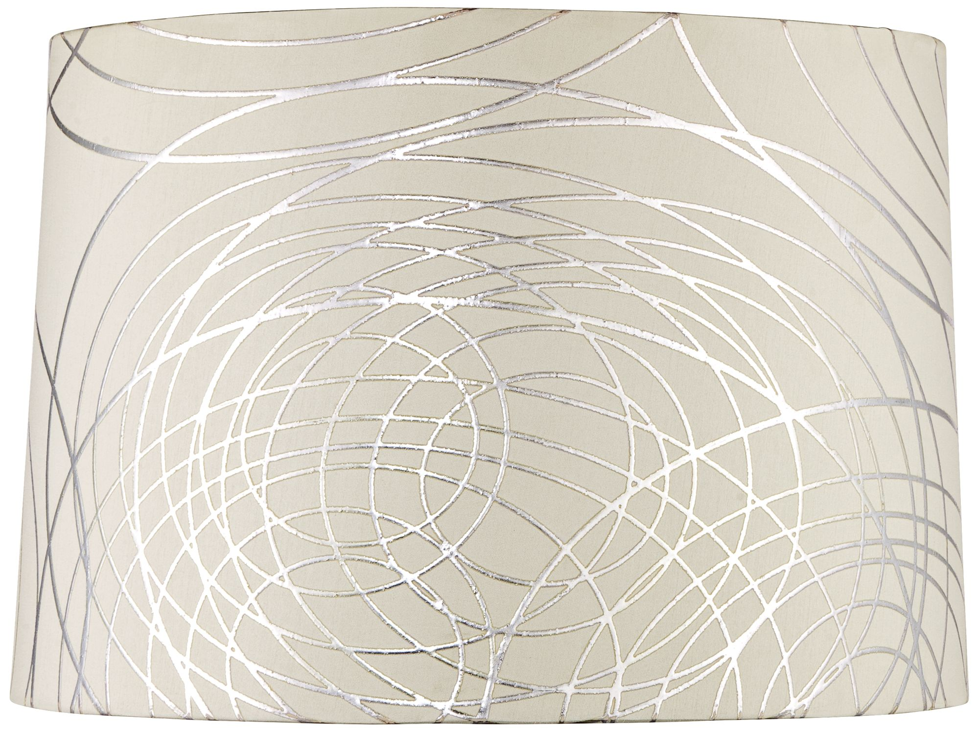 offwhite with silver circles drum shade 15x16x11 spider