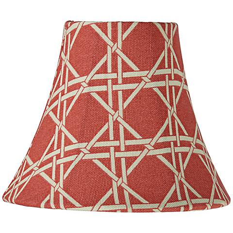 Melon Pink Cane Print Bell Lamp Shade 3x6x5 (Clip-On)