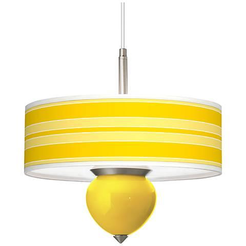 "Citrus Bold Stripe Cleo 16"" Wide Pendant Chandelier"