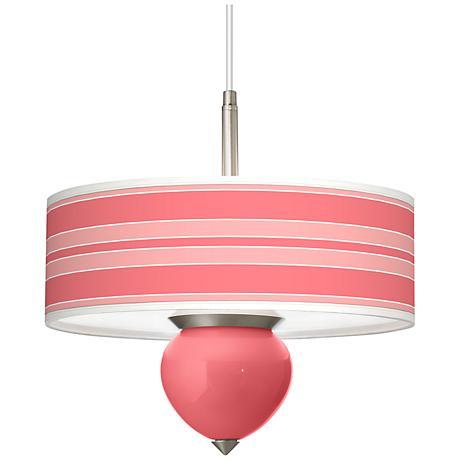 "Rose Bold Stripe Cleo 16"" Wide Pendant Chandelier"