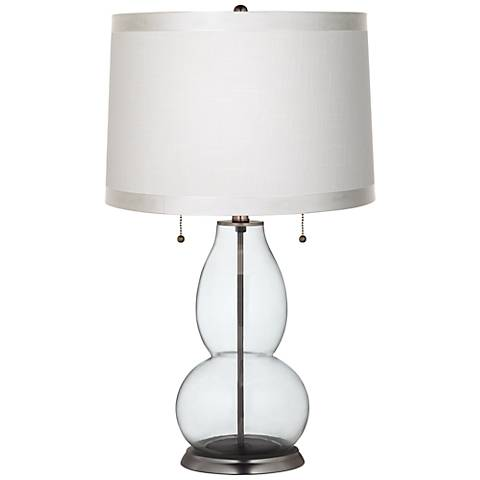 Clear Fillable White Drum Fulton Table Lamp