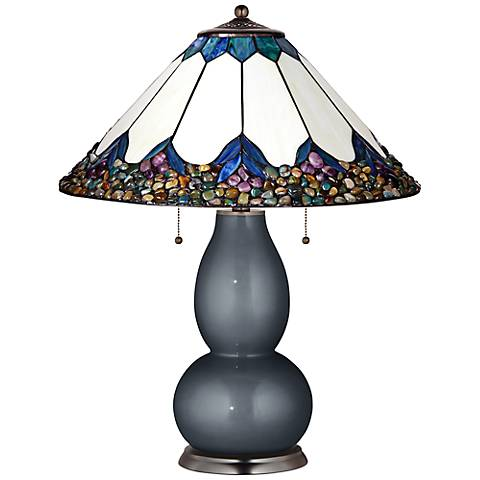 Fulton Lamp in Gunmetal Metallic with River Stone Shade