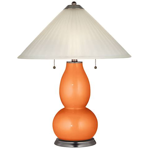 Burnt Orange Metallic Fulton Table Lamp with Fluted Glass Shade