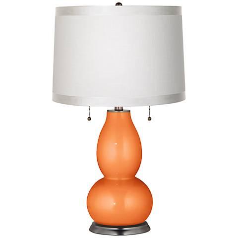 Burnt Orange Metallic White Drum Fulton Table Lamp