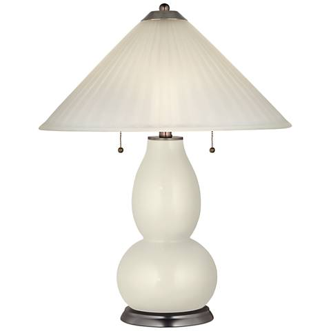 Vanilla Metallic Fulton Table Lamp with Fluted Glass Shade