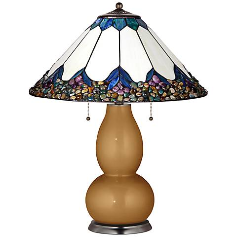 Fulton Lamp in Light Bronze Metallic with River Stone Shade