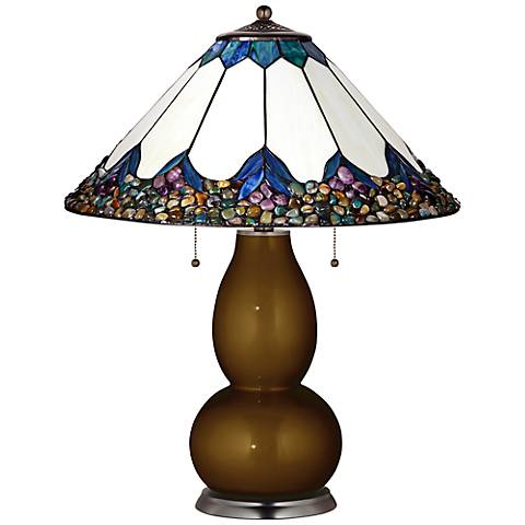 Fulton Lamp in Bronze Metallic with River Stone Shade