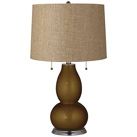 Bronze Metallic Tan Woven Fulton Table Lamp