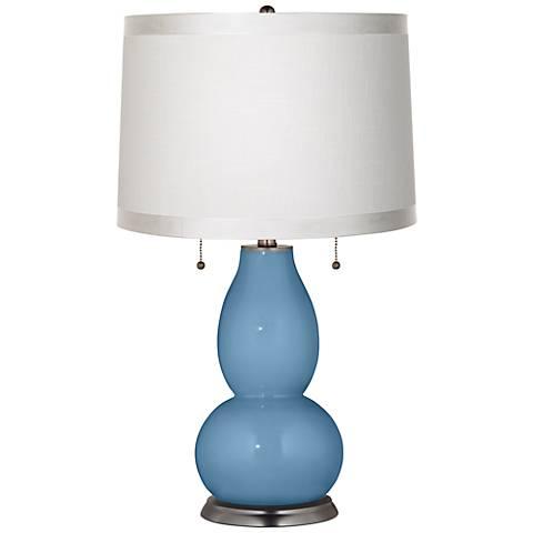 Secure Blue White Drum Fulton Table Lamp