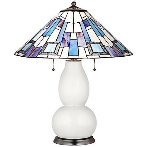 Fulton Table Lamp in Winter White with Geo Blue Shade