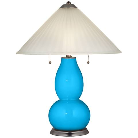 Sky Blue Fulton Table Lamp with Fluted Glass Shade